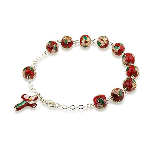 Hand Made Red Glass and Enamel Beaded and Silver Plated Chain Bracelet Rosary, with Matching Enamel Cross (Communion Beaded First Bracelet)
