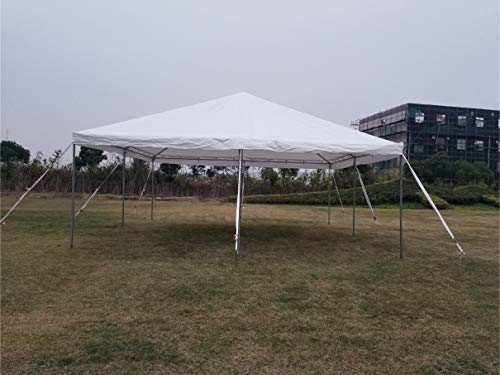 (20-Foot by 20-Foot Steel West Coast Frame Style Party Tent for Weddings, Graduations, and Events (White PE)