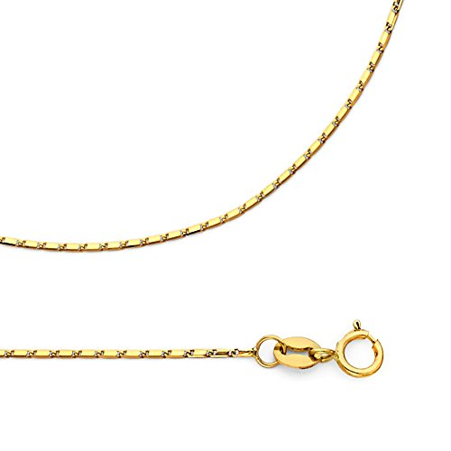 Solid 14k Yellow Gold Chain Bullet Necklace Tube Diamond Cut Snail Links Polished, 1 mm - 22 inch