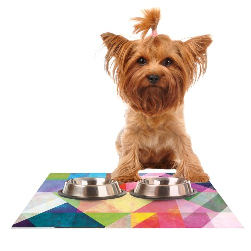 KESS InHouse Mareike Boehmer color Blocking  Rainbow Abstract Feeding Mat for Pet Bowl, 18 by 13-Inch
