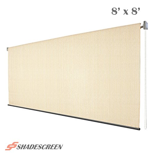 Roller Shade, 8ft x 8ft Window Blind Roll Up Sun Shade UV Fabric, Beige (Roll Up Sun Shades For Patios)