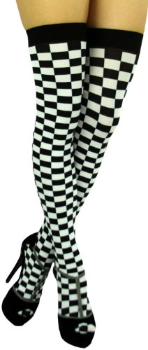 ToBeInStyle Women's Checkered Wide Elastic Band Thigh Hi Stocking - One Size - ()