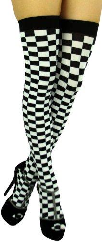 Checkered Thigh High Tights - 1