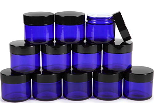 Vivaplex, 12, Cobalt Blue, 2 oz, Round Glass Jars, with Inner Liners and black ()