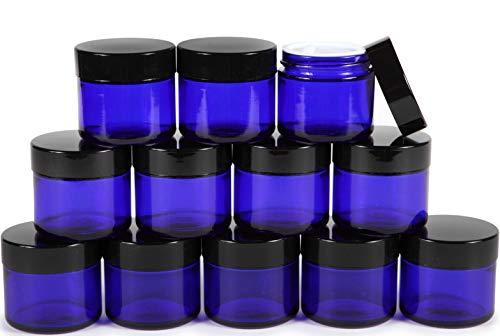 Vivaplex, 12, Cobalt Blue, 2 oz, Round Glass Jars, with Inner Liners and black Lids (Colored Dark Jars Glass)