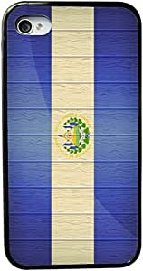 Rikki KnightTM El Salvador Flag on Distressed Wood Design iPhone 5 & 5s Case Cover (Black Rubber with bumper protection) for Apple iPhone 5 & 5s