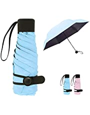 Queta Mini Ombrello Pieghevole, Ultraleggero Ultra Protective [99% UV Resistenza & 100% Impermeabile] - Doppia-Uso Ombrello da Sole/Pioggia, Ombrello da Viaggio Regalo (Light Pink)
