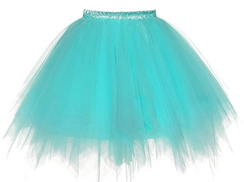 DYS Women's 1950s Knee Length Petticoat Slips Tulle Ballet Bubble Tutu Skirt Aqua L/XL