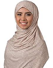 حجاب كويتي قطني دبل ستسترش جينز اللون بيج