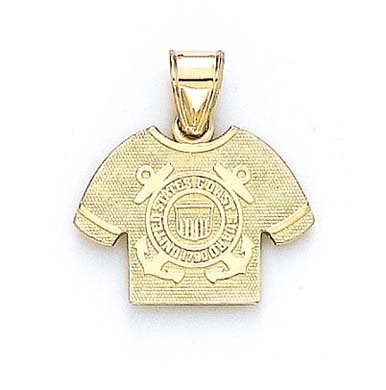 Logo Heart 10k Charm - 14k Yellow Gold US Coast Guard Logo Shirt Pendant
