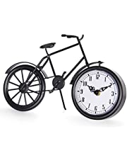 JUMBO DECOR Vintage Bicycle Table Clock on Stand,Black Bike Metal Desk Clock,Cute Decorative Mantel Clock,Gift for Family