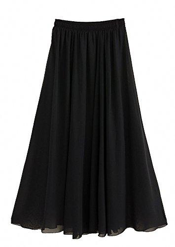 Afibi Womens Chiffon Retro Long Maxi Skirt Vintage Dress (X-Large, (Black Long Skirt)