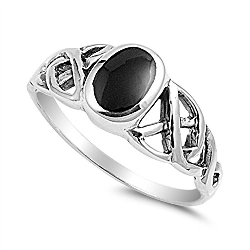 Simulated Black Onyx Celtic Knot Solitaire Polished Ring Sterling Silver Band Size 8