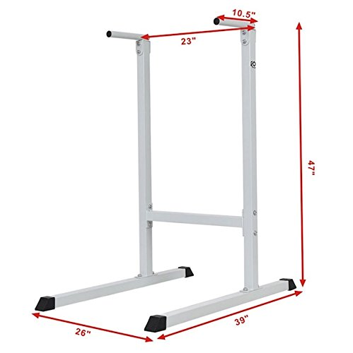Dip Station Stand Freestanding Pull Push Chin Up Bar Tower Raise Stand Home Gym Power Fitness Workout Exercise Intense Upper Body Shoulders Delts Triceps Workout Heavy Duty Steel