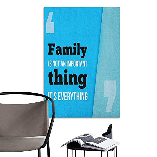 (Camerofn 3D Murals Stickers Wall Decals Family Family is Everything in Quotation Marks Inspirational Phrase Modern Design Turquoise Blue Black Warm and Romantic W8 x)
