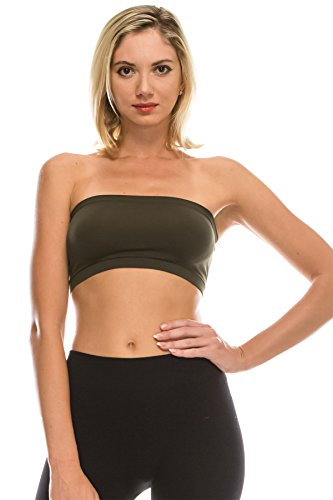 Kurve Seamless Bandeau Tube top - UV Protective Fabric, Rated UPF 50+ (Non-Padded) -Made in USA- ()
