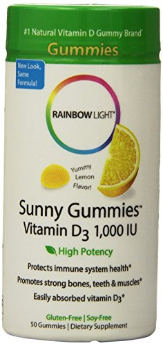 Rainbow Light Vitamin D3 1000 IU Sunny Gummies Lemon 50 ea (Pack of 3)