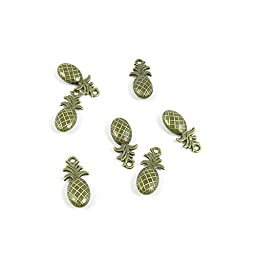 110 Pieces Jewelry Making Charms Findings Antique Bronze Brass Fashion Jewellery Wholesale Supplies Pendant Lots Bulk Supply I5RA4 Pineapple