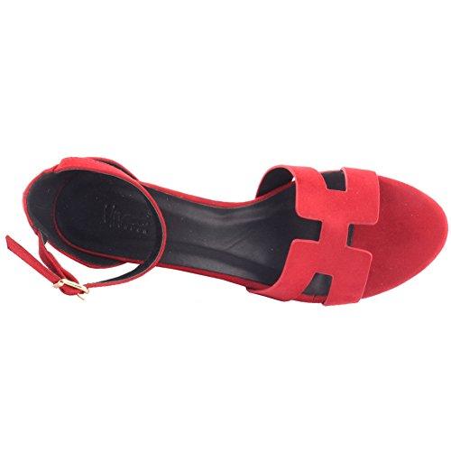 Rojo Unze School Sandalias Casual 8 Tamaño 3 Reino mujeres Open Beach Wedge Summer Carnaval Unido 'Musker' Zapatos Nuevas FFUqT1