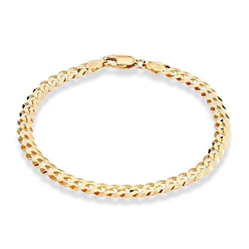 (MiaBella 18K Gold Over 925 Sterling Silver Italian 5mm Solid Diamond-Cut Cuban Link Curb Chain Bracelet for Men Women, 7