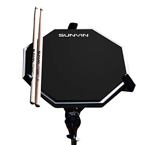 SUNYIN Practice Drum Pad Set&Drum Sticks,12 inches-Silent Practice Training Pad with Real Drum Feel (Black)