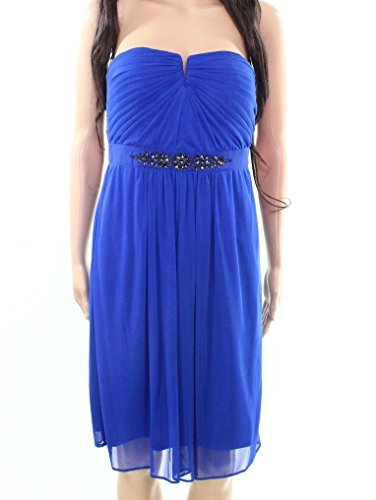 Adrianna Papell Womens Embellished Sheath Dress Blue 10