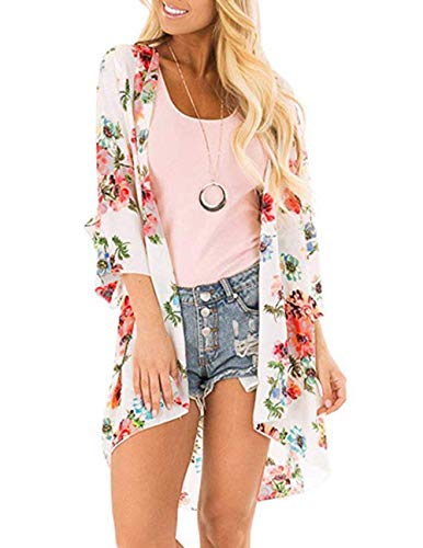 Womens Floral Kimono Cardigans Sheer Print Chiffon Loose Cover ups Tops(WT,S ()