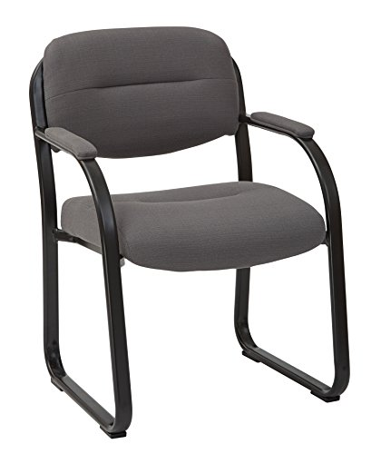 Back Deluxe Visitors Chair - Office Star Padded Faux Leather Seat and Back Visitor Chair with Built-in Lumbar Support, Padded Arms, and Sled Base, Woven Charcoal