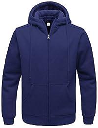 Wantdo Men's Hoodie Sweatshirt Warm Sherpa Lined Full Zip Jacket