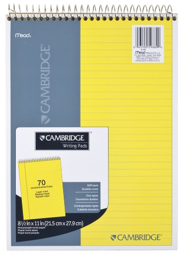 (Mead Legal Pad, Top Spiral Bound, Wide Ruled Paper, 70 Sheets, 8-1/2