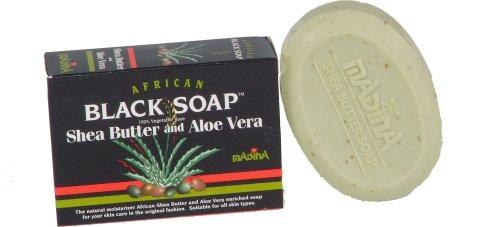 Madina africaine Savon Noir au Beurre de Karité & Aloe Vera 100% base végétale (Pack de 6)