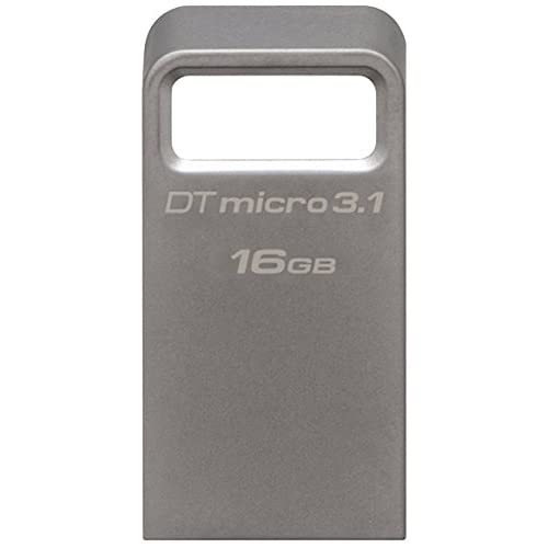 Kingston DataTraveler Micro 3.1 16GB USB 3.0 Compatible Hi-Speed up to 100MB/s Ultra-small Metal Case Flash Drive  (DTMC3/16GB) - Silver