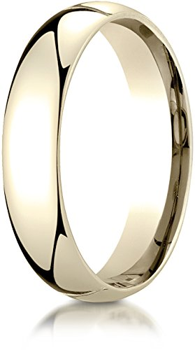 Benchmark 14K Yellow Gold 5mm Slightly Domed Super Light Comfort-Fit Wedding Band Ring, Size 9 ()