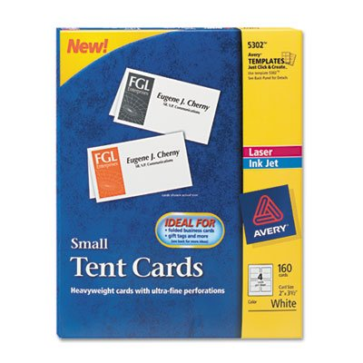 Avery® - Tent Cards, White, 2 x 3 1/2, 4 Cards/Sheet, 160 Cards/Box - Sold As 1 Box - Create custom tent cards on your laser or inkjet printer. by Avery