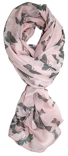 Jack Butterfly Garden (Ted and Jack - Graceful Butterflies Silhouette Print Scarf (Pale Rose))