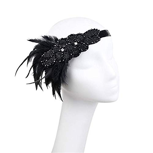 Retro Ladies Feather Flapper Headband 20s Gatsby Costume Jewelry Headpiece Black]()