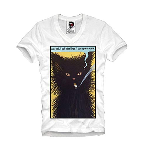 Price comparison product image E1SYNDICATE V-NECK T-SHIRT CAT MEOW DISOBEY HIPSTER BLOGGER BOY S / M / L / XL