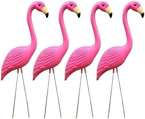 2 Pack Plastic Blue Flamingo Lawn Figurine Garden Grassland Party Decor Ornament