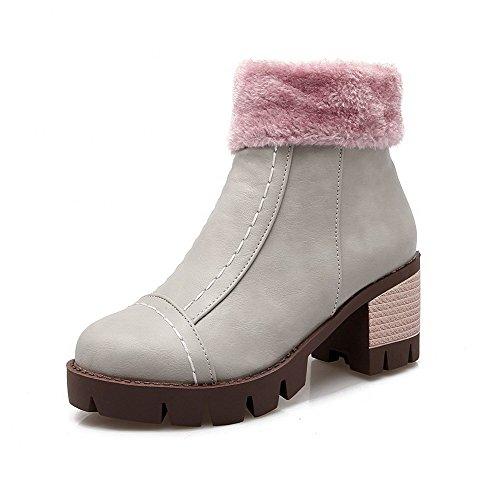 Allhqfashion Mujeres Solid Kitten-heels Round Closed Toe Pu Cremallera Botas Gris