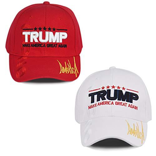 Make America Great Again Hat [2 Packs], Keep America Great Hat, Donald Trump 2020 USA MAGA Cap Adjustable Baseball Hat (E-Red&White)