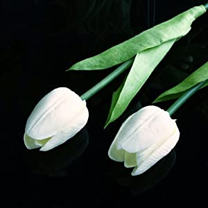 10 pcs White Tulip Flower Latex Real Touch For Wedding Bouquet KC456 70