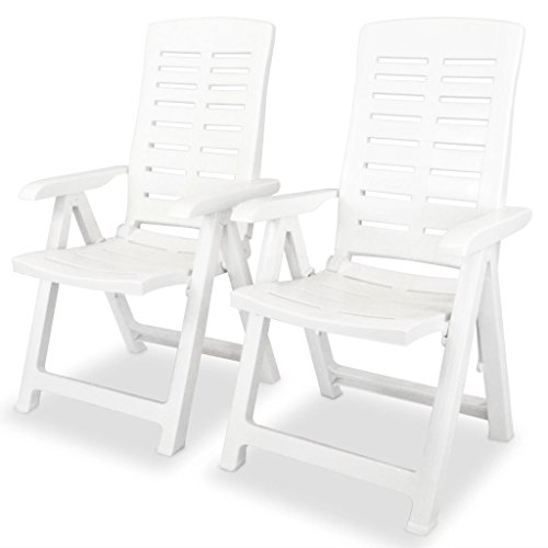 2 pcs Folding Reclining Garden Chairs Weather-Resistant High Back Chair, Dining Chair, Plastic White, for Outdoor, Patio, Porch, Garden, Backyard, Pool