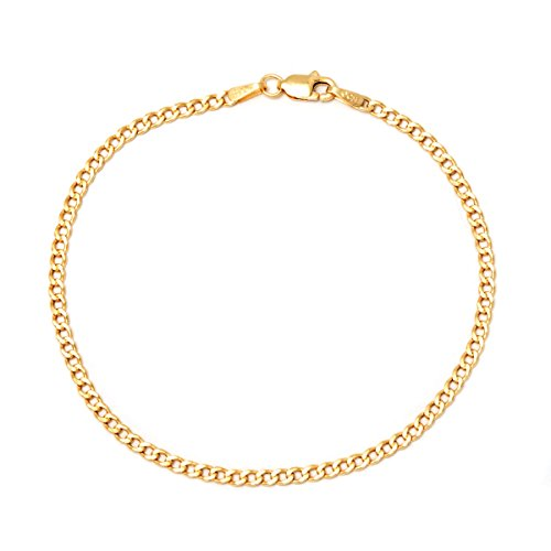 Pori Jewelers 14K Gold 2.5mm Cuban/Curb Chain Necklace and Bracelet - Made in Italy - Multiple Lengths Available (Yellow, 7)