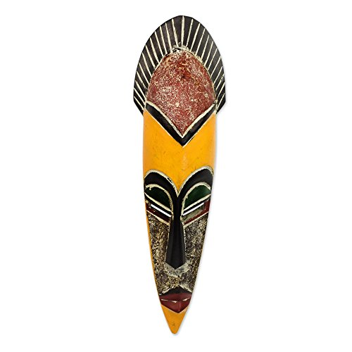NOVICA Decorative Protection Large Wood Mask, Earthtone 'Protect The Jungle'