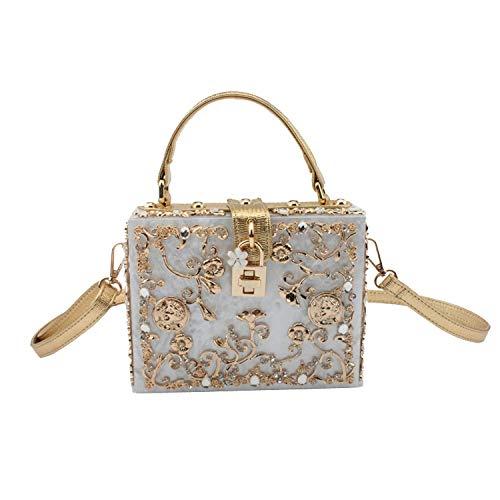 polliciBianco per laureacoloreorodimensioni Yisaesa Catena intagliata borse di stampa regalo regalo diamante a con a metallica Frizione 19x15x7cm7x6x3 donnaacrilico di catena DEW2IeYH9