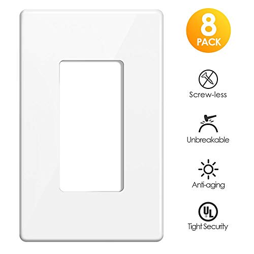 (Screwless Wall Plates, Cranach Decorator 1 Gang No Screw Switch Plates Child Safe Outlet Cover for GFCI, USB Receptacle & Dimmer Switch, Unbreakable Polycarbonate Material, White (8 Pack))