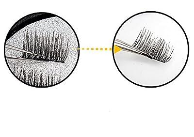 Meinaier 3D Reusable False Magnetic Eyelashes No Glue Convenient Soft Hair Fake Eyelashes 3D Reusable Natural Look 1 pair (4 piece)