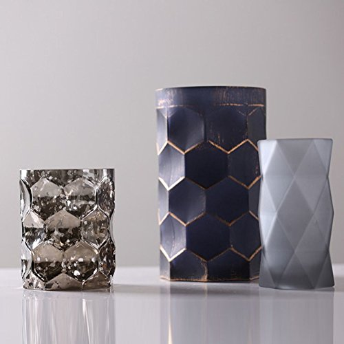 TAIYUANJIN Cylinder Frosted vase,Set of 3 Decorative Centerpiece for Home & ()