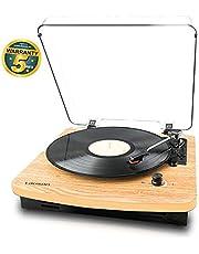 Lauson CL608 Platenspeler voor Vinyl met Luidsprekers | USB-platenspeler met Bluetooth | Lp | Converter vinyl naar mp3 | Vinylspeler voor Three Speed | RCA | Natuurlijk Houten