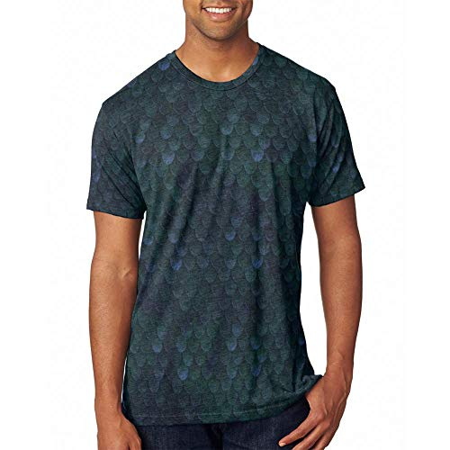 Halloween Wood Elf Scale Mail Armor Costume All Over Mens T Shirt Heather Royal MD]()